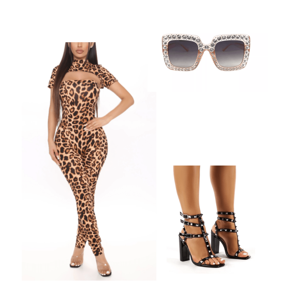 outfit inspiration: animal print bodysuit, pumps, and statement sunglasses