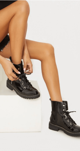 black combat boots chic