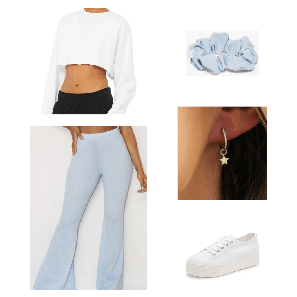 Flared pants outfit with accessories