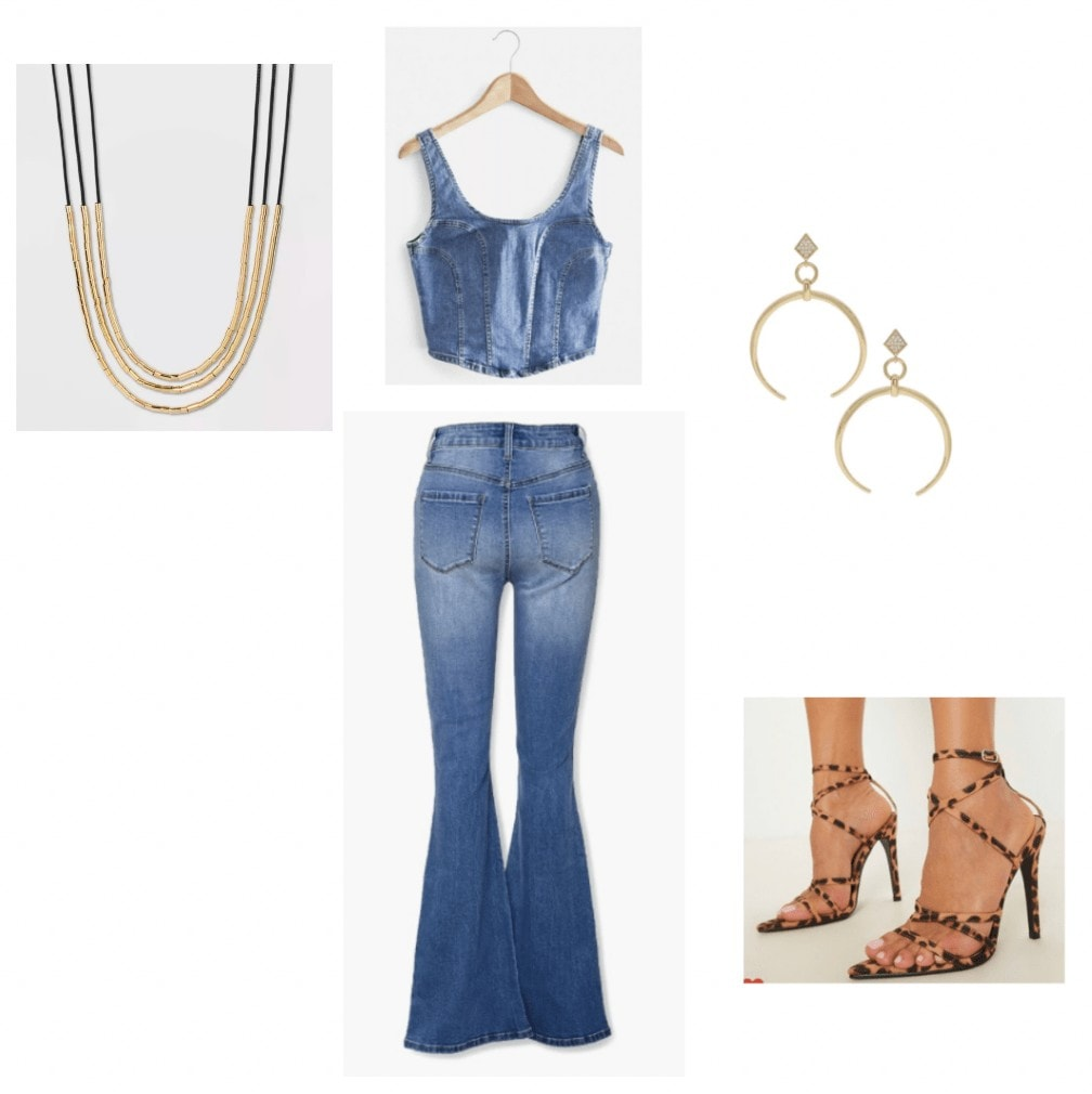 black is king outfit inspiration: denim crop top, denim flare jeans, gold earrings, strappy cheetah print heels, layered necklace