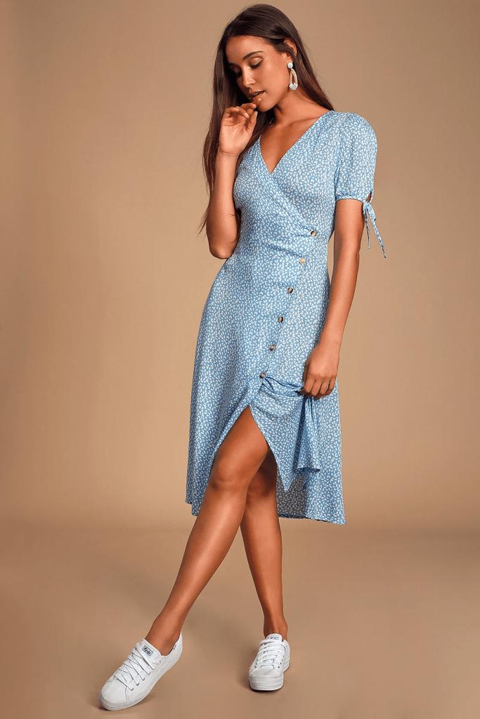 Lulus blue wrap dress