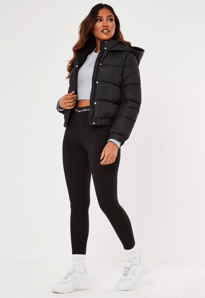 Cute fall outfit from Missguided with puffer coat and leggings and crop top