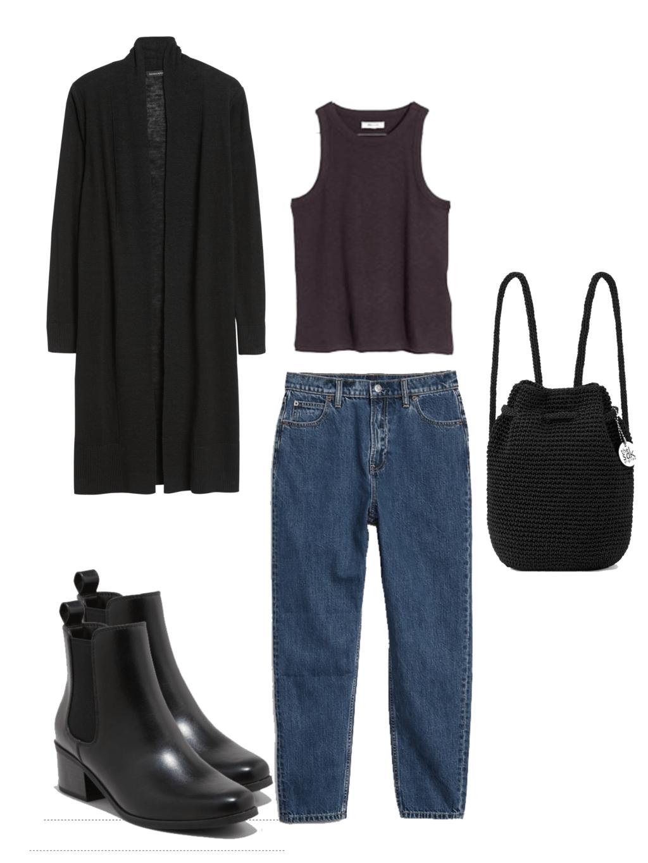 black cardigan, black booties, black tank top, black knit backpack, blue boyfriend jeans