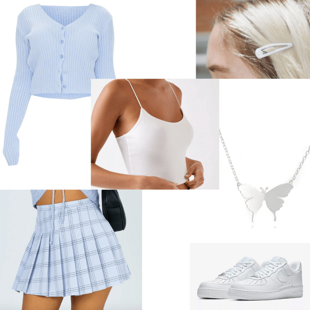 What to wear to a college class: Girly skirt outfit with accessories including plaid skirt, button-front cardigan, air force 1s