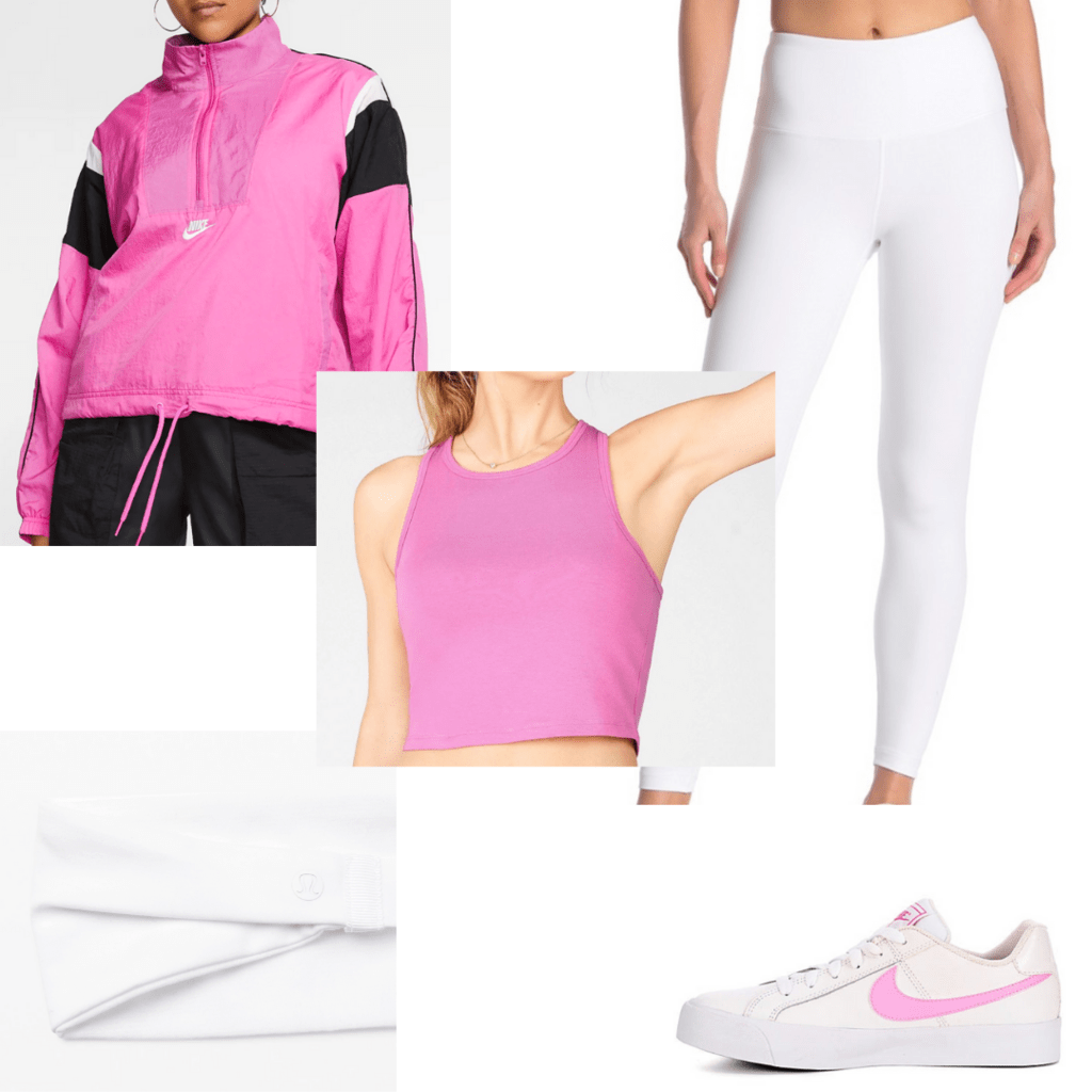 Pink sporty outfit with accessories for college classes -- white leggings, pink crop top, sneakers, zip hoodie