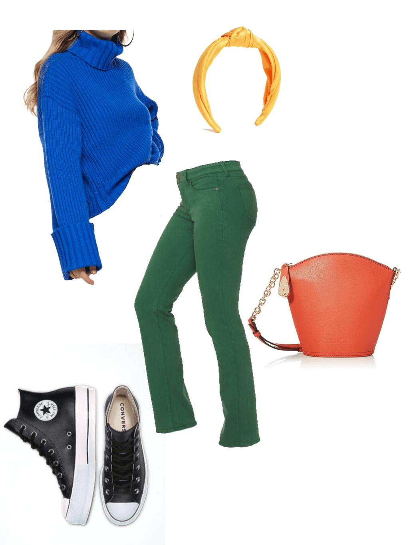 electric blue sweater, green jeans, orange bag, yellow headband, black converse