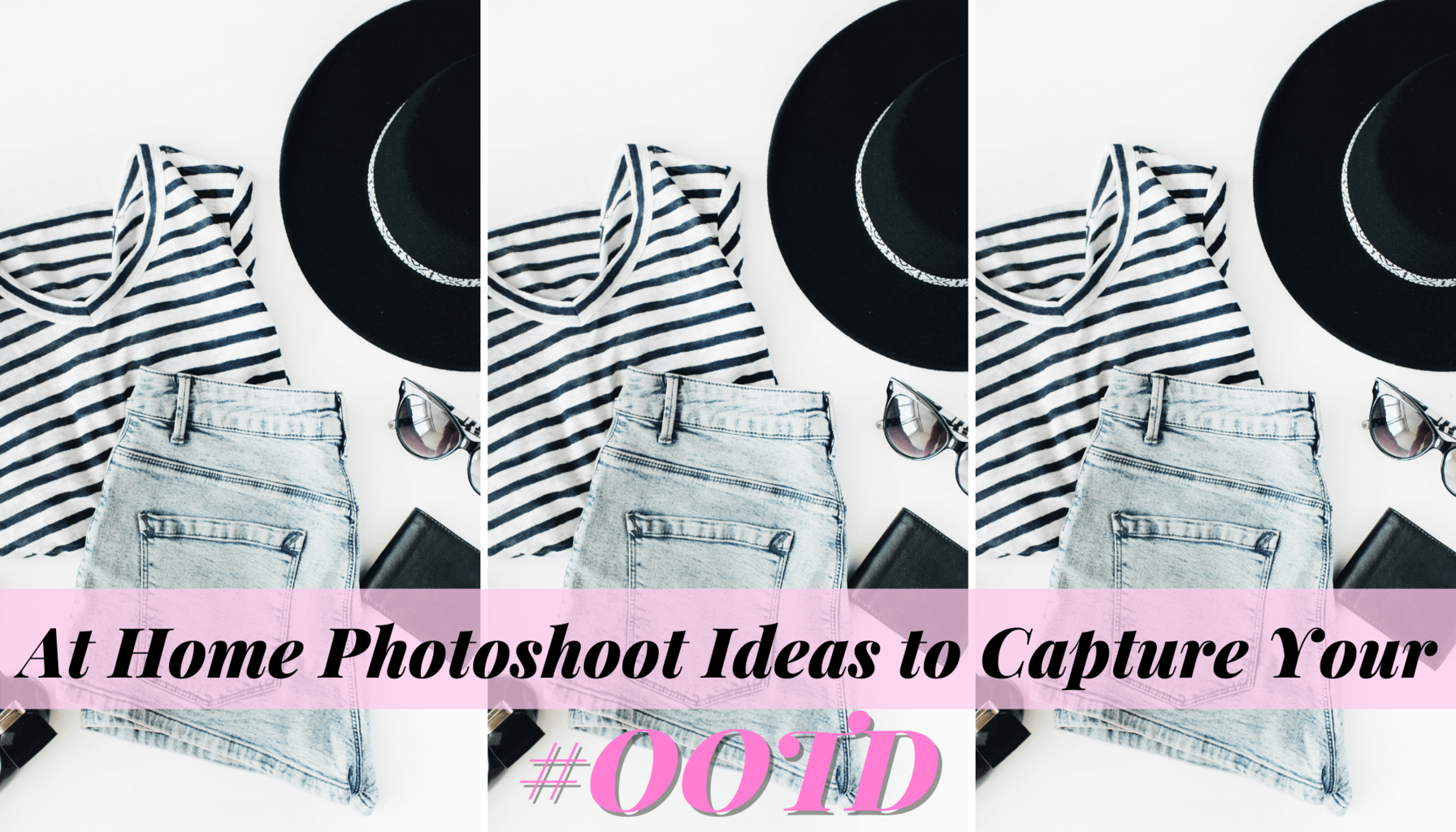 At home photoshoot ideas header image, flat lay outfit.