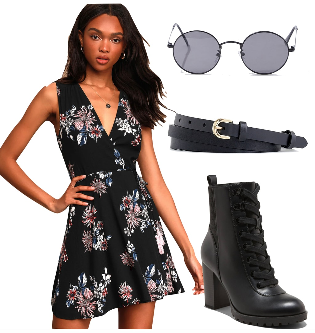 Ayesha Curry Outfit: black floral v-neck mini dress, black round metal sunglasses, black double-wrap belt, and black lug sole heeled booties
