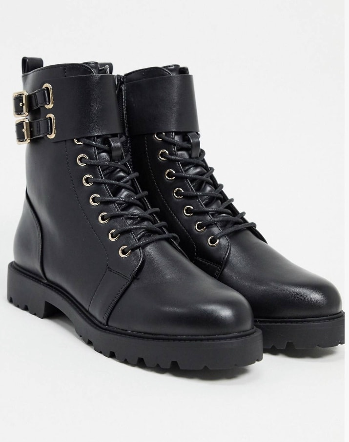 A pair of black combat boots from ASOS