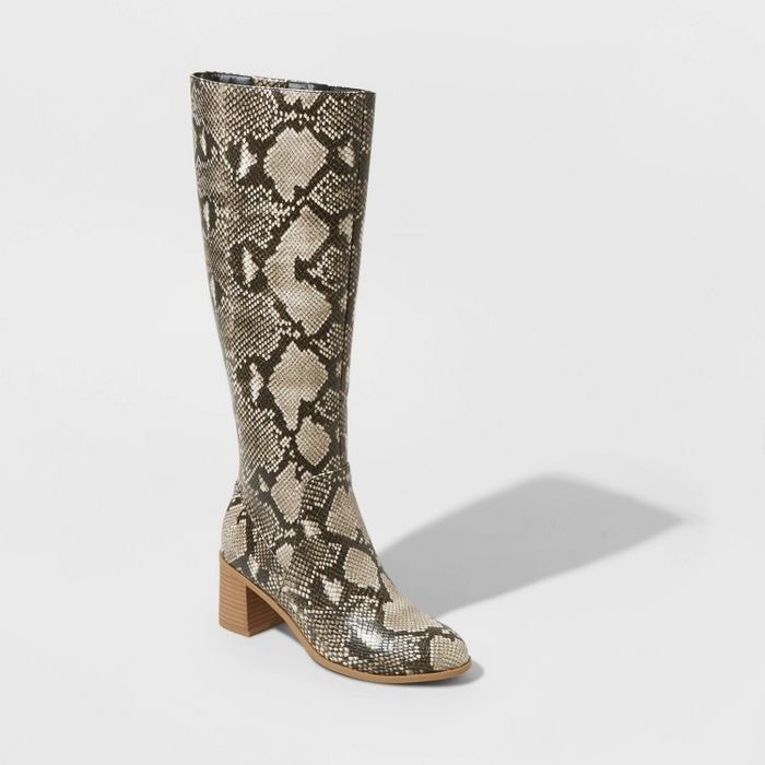 A pair of Target snakeskin boots