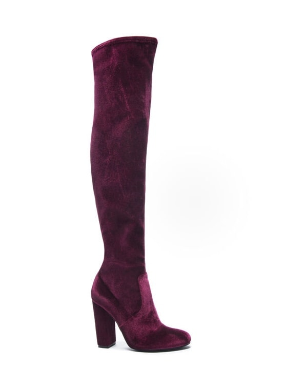 A pair of velvet burgundy boots from Chinese Laundry