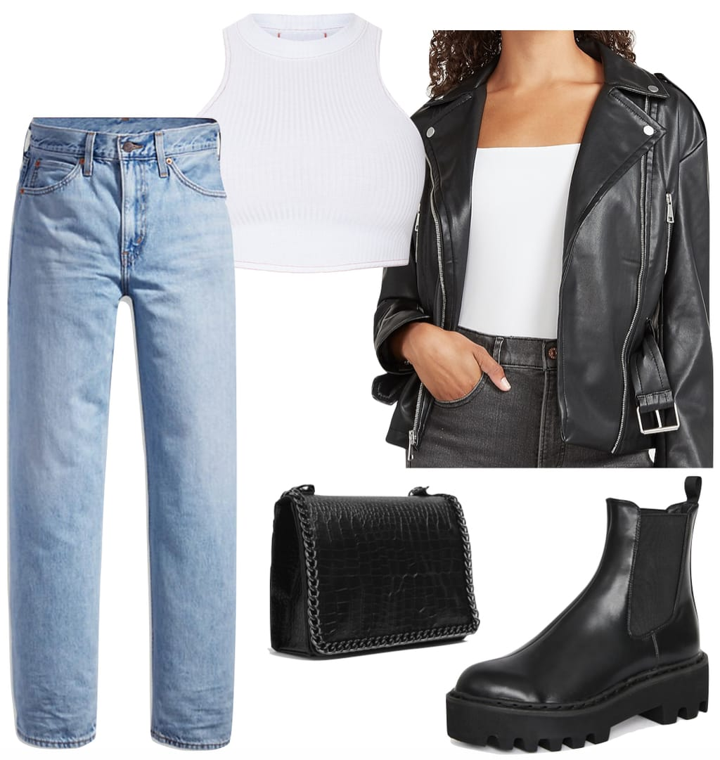 Kylie Jenner Outfit #1: white ribbed crop tank top, dad jeans, faux leather buckle jacket, black chain strap bag, and black chunky ankle boots