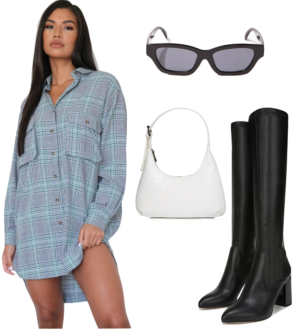 Kylie Jenner Outfit #3: plaid shirt dress, black knee-high boots, black rectangle sunglasses, and a white mini shoulder hobo bag