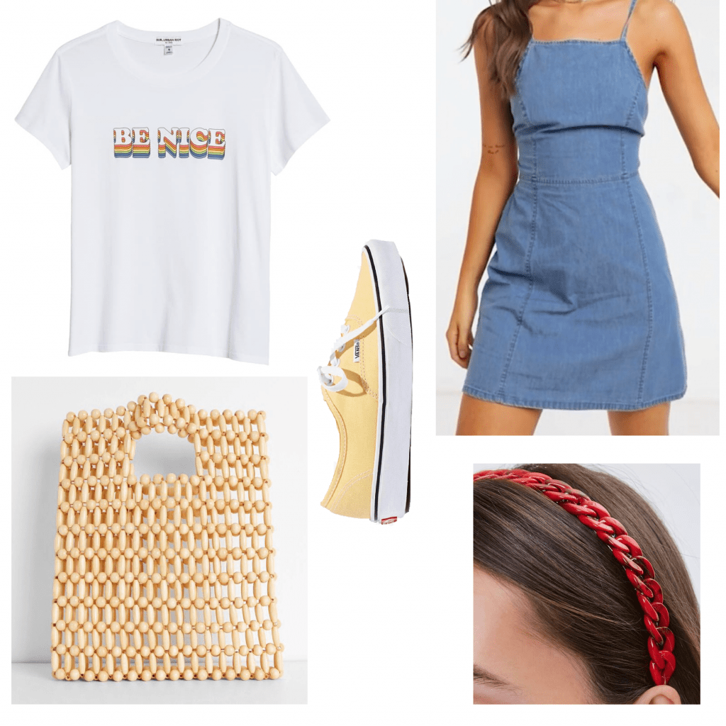 Outfit of a graphic tee and dress