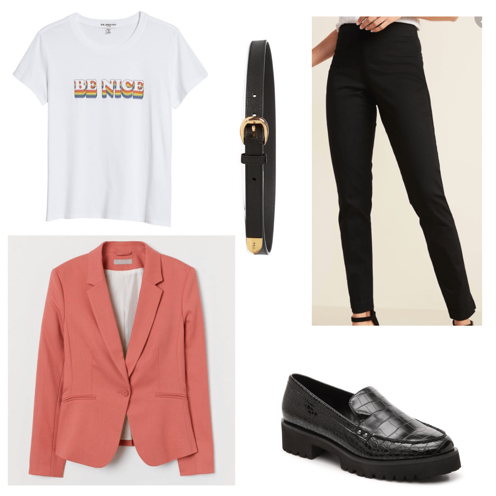 Outfit set of a graphic tee and blazer