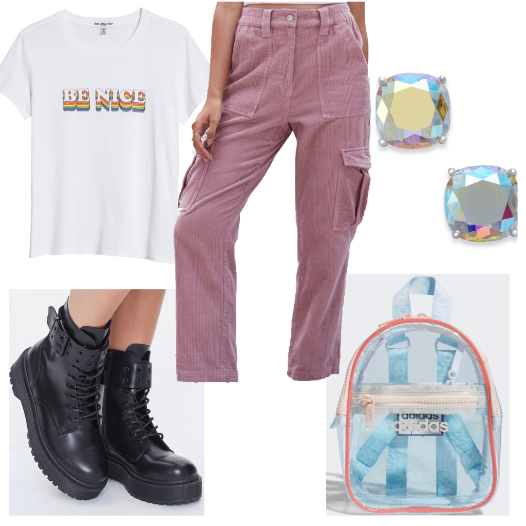 Outfit set of a graphic tee and cargo pants