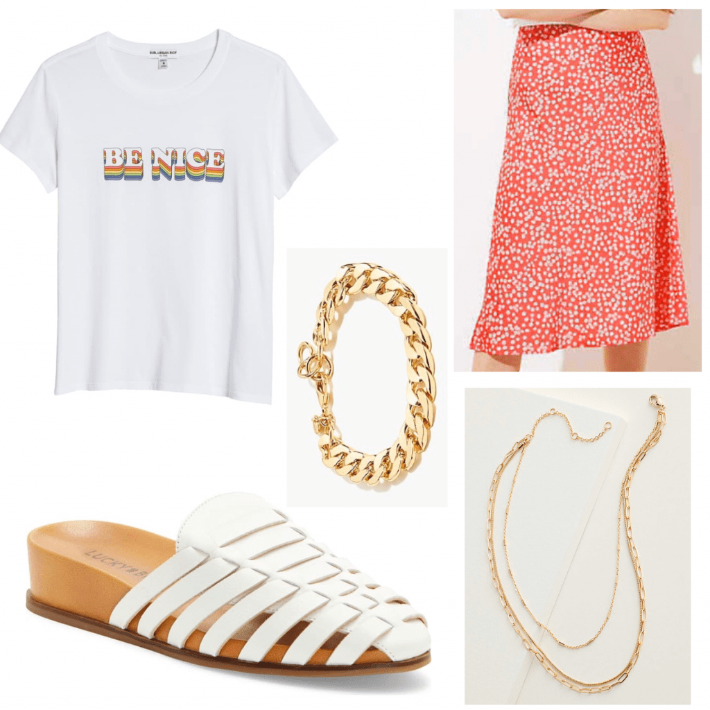 Outfit set of a graphic tee and midi skirt