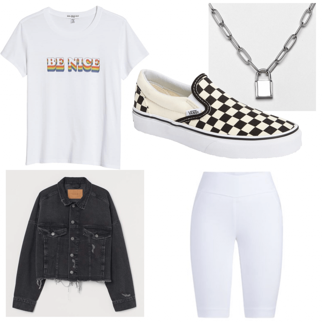 Outfit set featuring a graphic tee and biker shorts