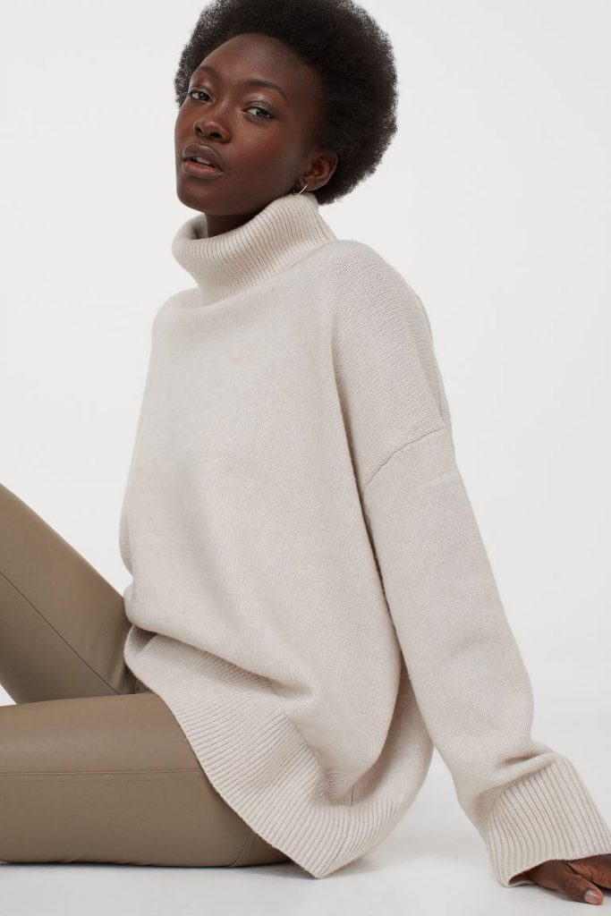 Beige turtleneck sweater from H&M
