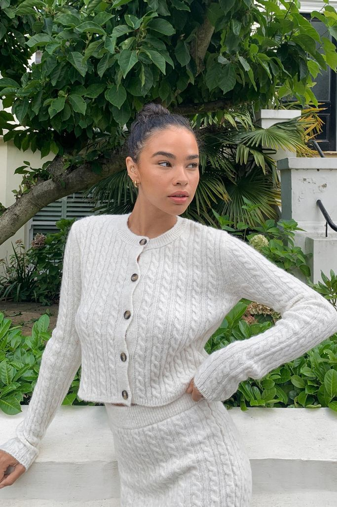 UO cable knit cardigan in cream