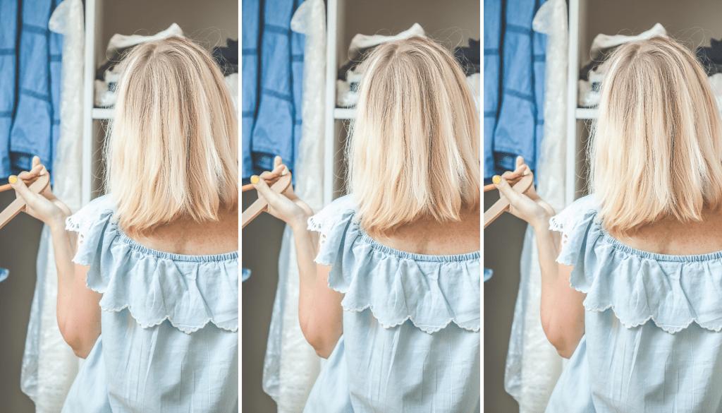 Woman decluttering her closet