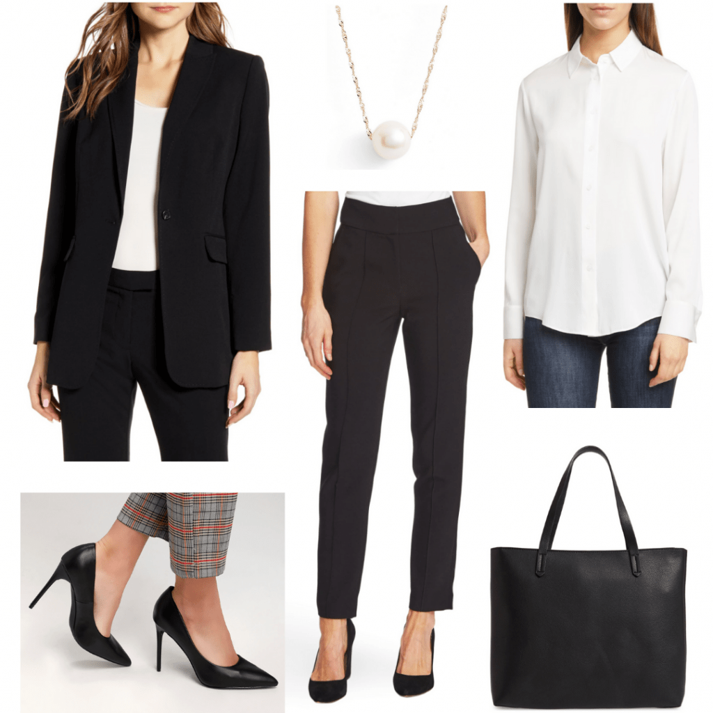 Conservative interview outfit: Black dress pants, black blazer, white button-down shirt, black tote, black heels, pearl necklace