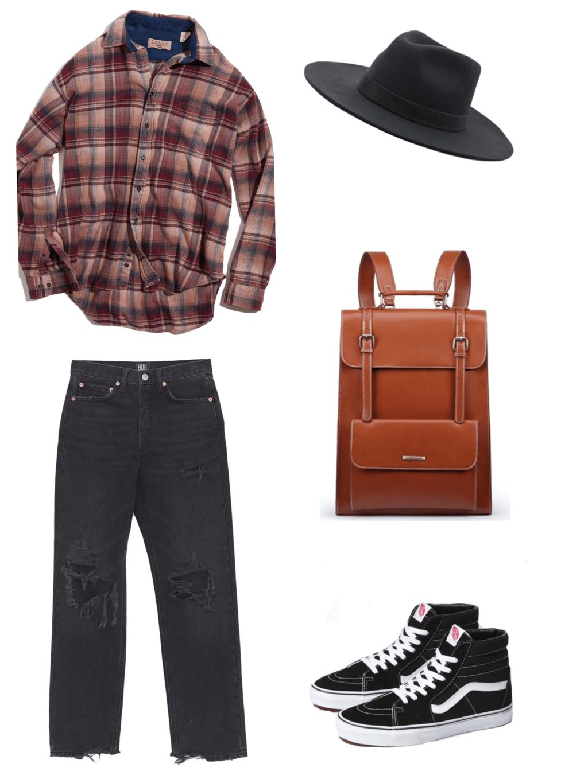red flannel, black hat, brown leather backpack, black jeans, black high top vans