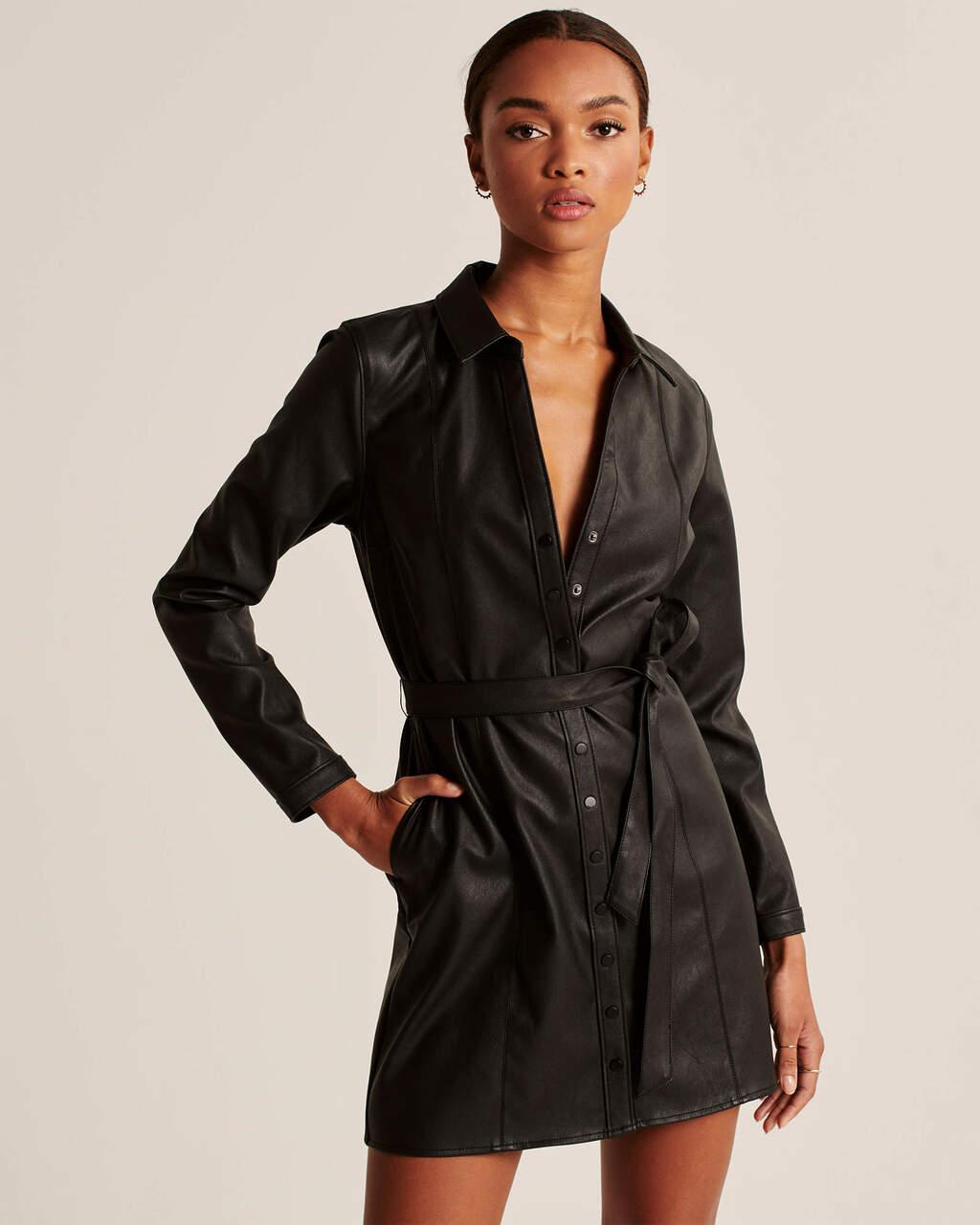 Abercrombie & Fitch Black Faux Leather Shirt Dress