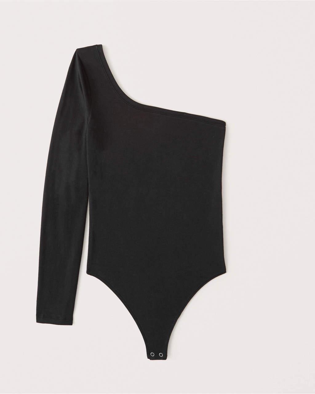 Abercrombie & Fitch Black Long-Sleeve One-Shoulder Bodysuit