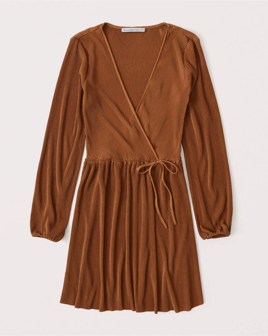 Abercrombie & Fitch Satin Plisse Wrap Mini Dress