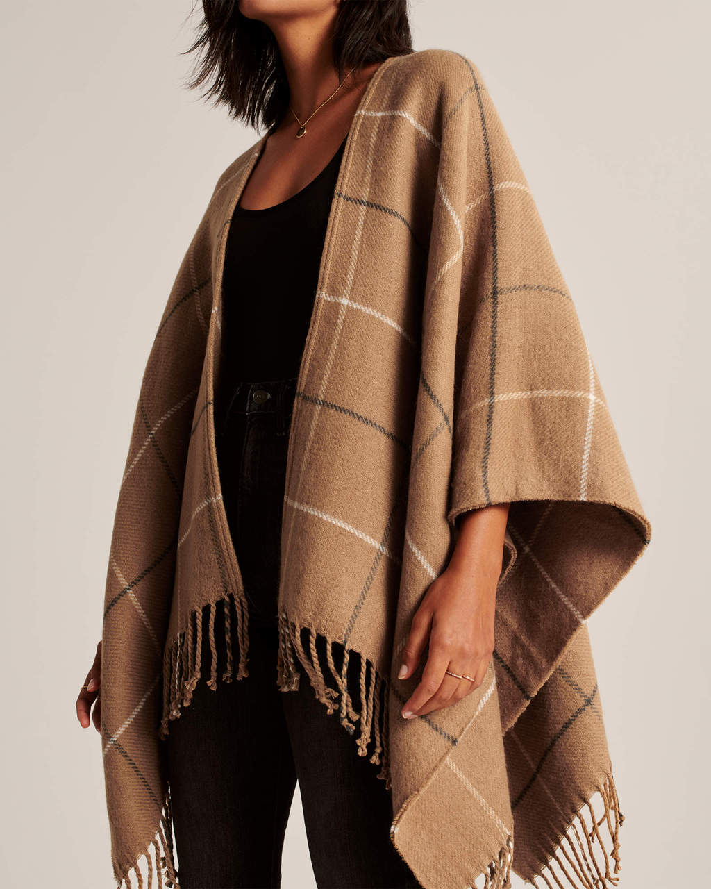 Abercrombie & Fitch Camel Brown Plaid Poncho