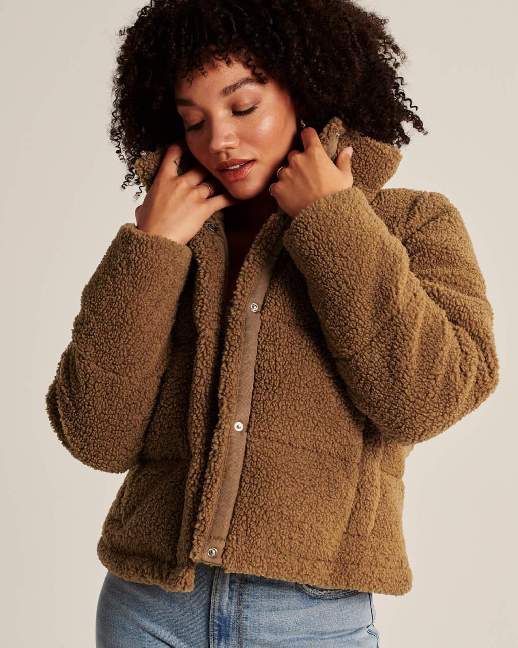 Abercrombie & Fitch Sherpa Mini Puffer Jacket