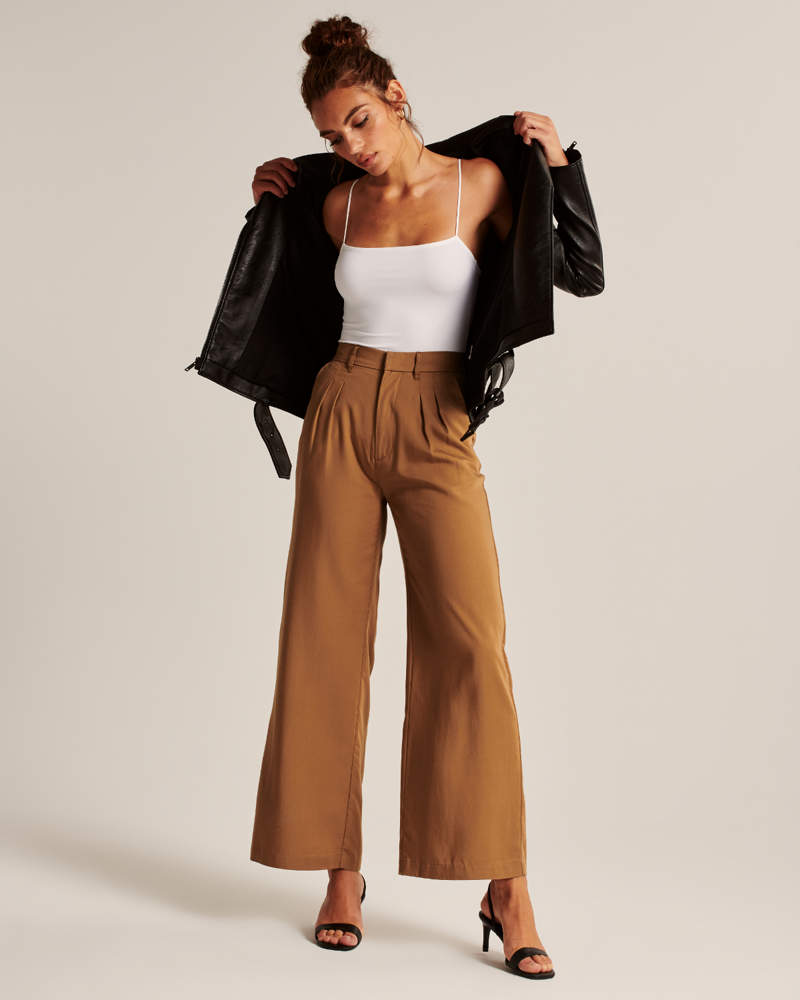 Abercrombie & Fitch Drapey Wide-Leg Pleated Pants