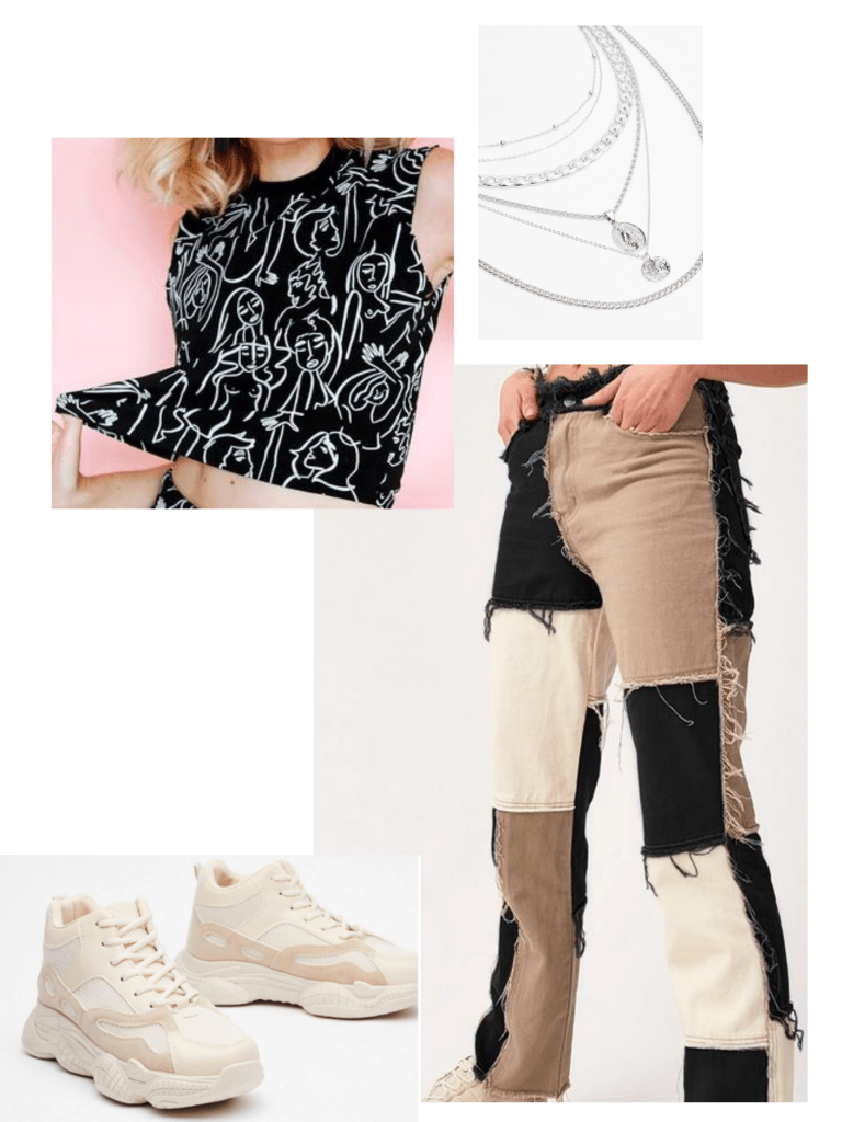 beige and black patchwork jeans, chunky sneakers, layered necklaces, black tank with white artwork