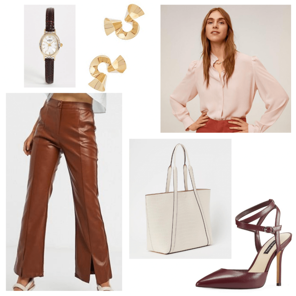 Public office outfit idea: Wide leg leather trousers, blush pink blouse, watch, statement earrings, white tote