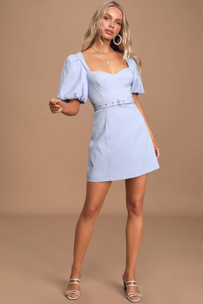 College outfit ideas - Light blue puff sleeve dress
