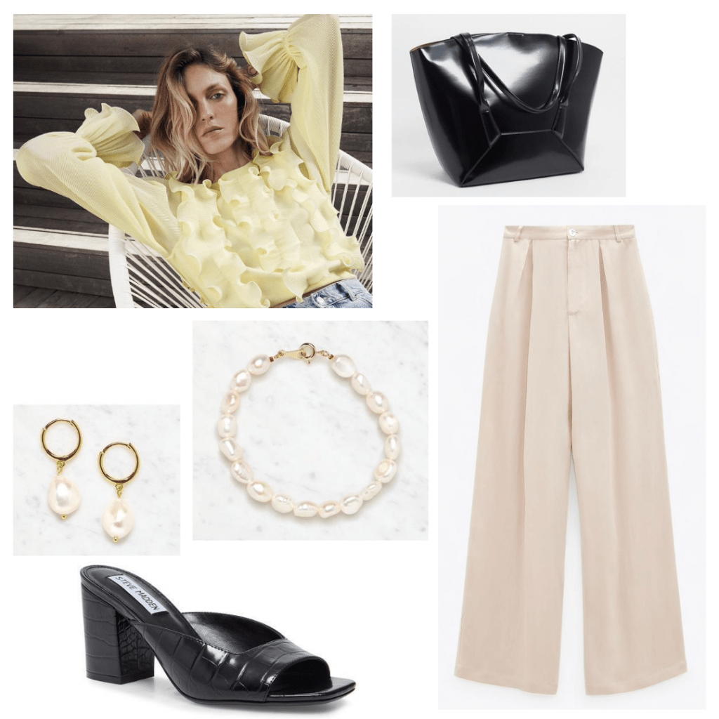 Arts and architecture job interview outfit: Pastel yellow blouse, black architectural purse, wide leg beige trousers, pearl accessories, black heels