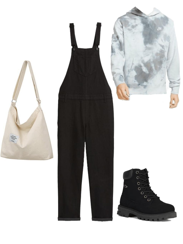 black overalls, black timberlands, tie-dye hoodie, beige tote bag