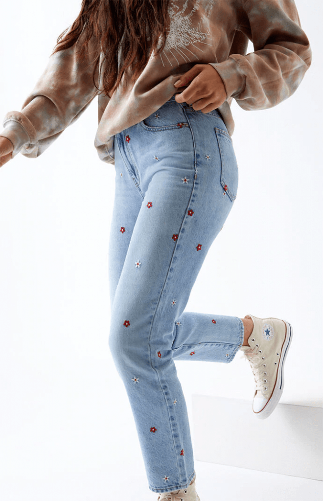 Red daisy mom jeans from Pacsun