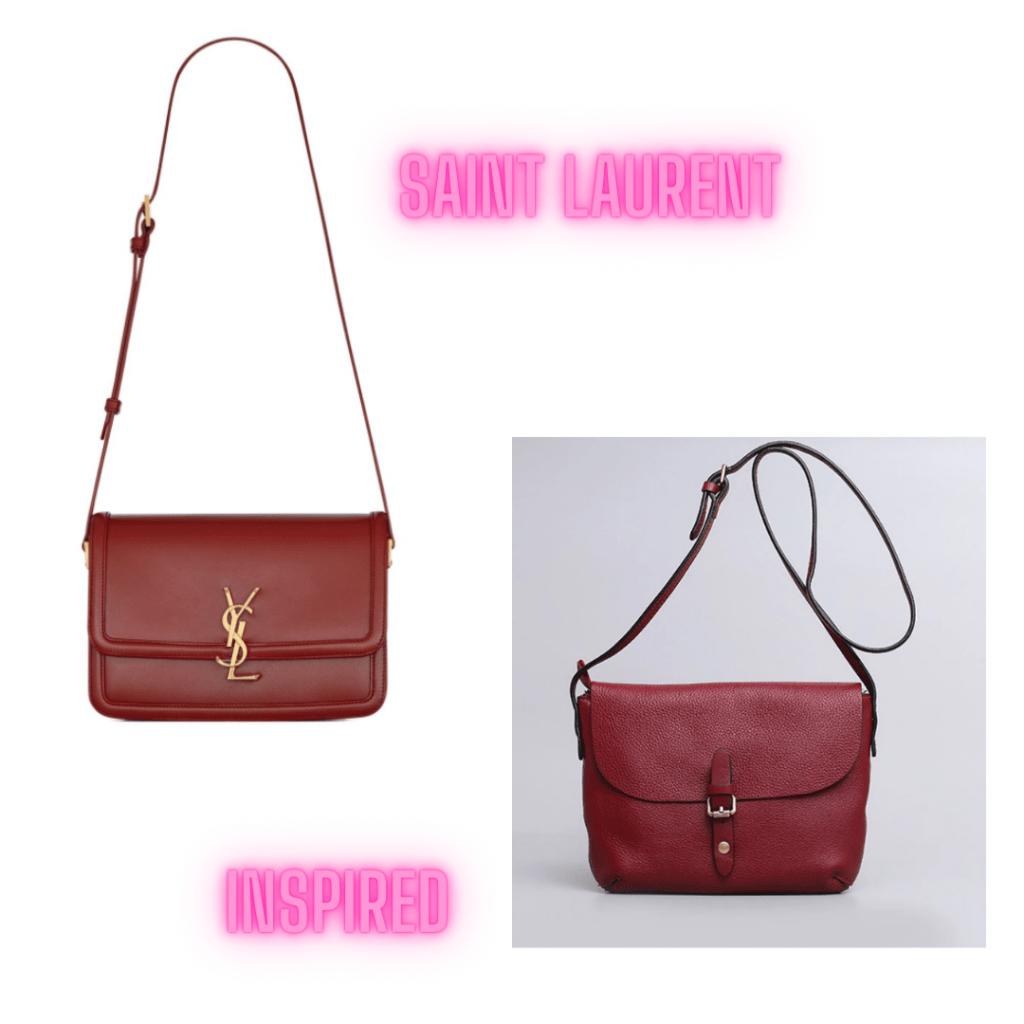 saint laurent red leather satchel handbag
