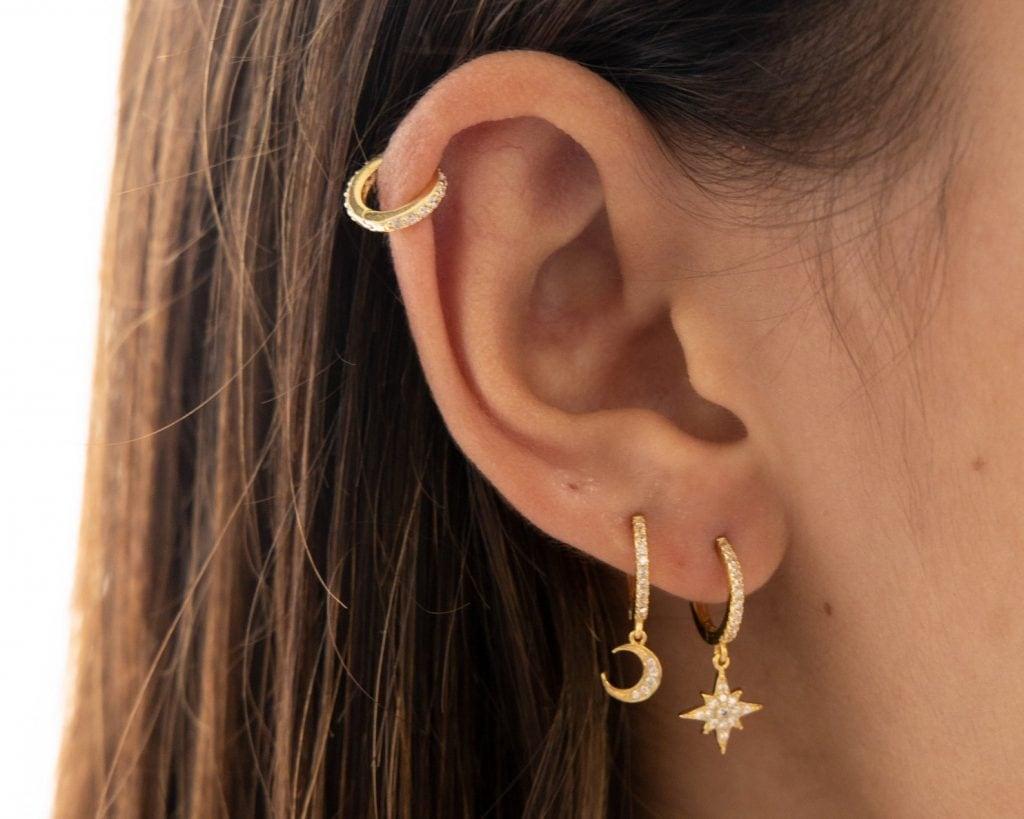 Star and moon hoop earrings