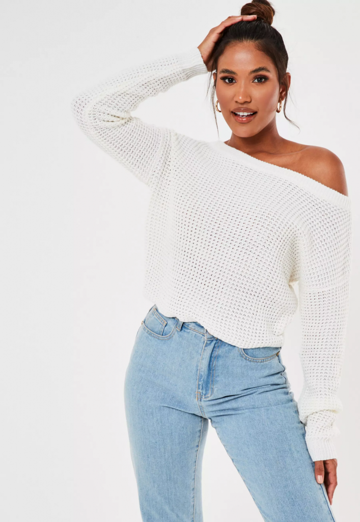 White off-shoulder sweater