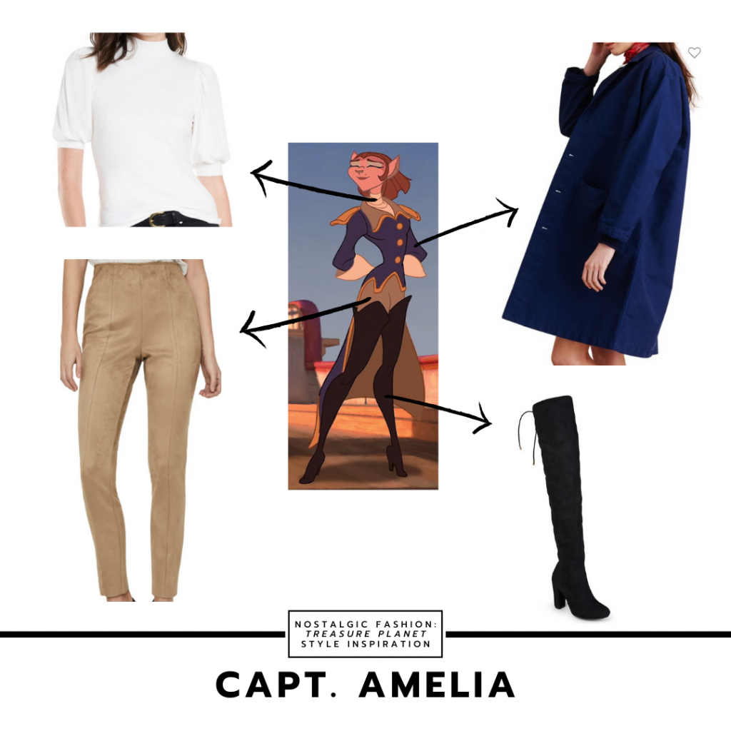 Fashion inspired by Amelia from Treasure Planet - brown pants, over the knee boots, navy blue coat, white turtleneck