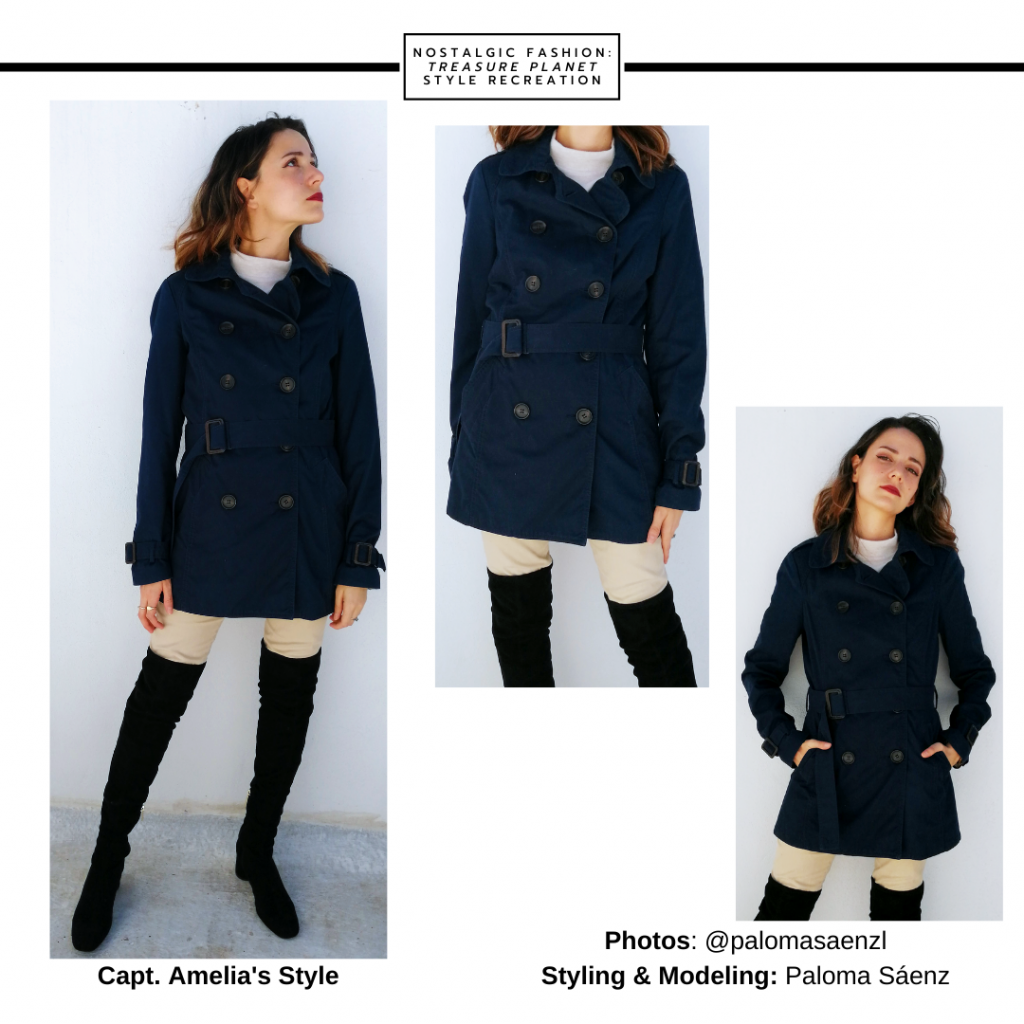 Outfit inspired by Captain Amelia from Treasure Planet -- black over-the-knee boots, navy blue coat, tan pants