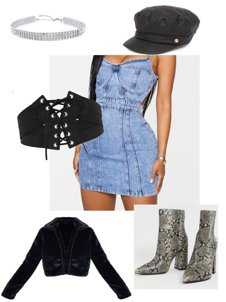 Bratz halloween costume: Denim dress, leather hat, belt, choker, snakeskin boots