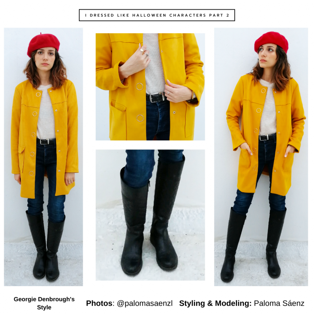 Outfit inspired by Georgie Denbrough from It with yellow coat, jeans, rain boots, red hat