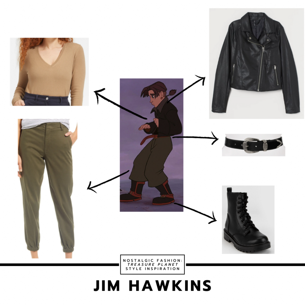 Outfit inspired by Jim from Treasure Planet with green pants, black leather jacket, nude v-neck bodysuit, combat boots