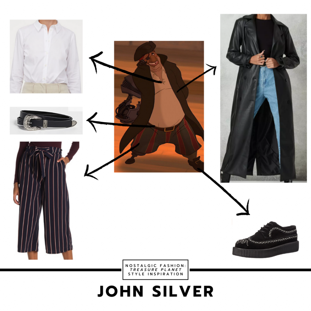 Fashion inspired by John Silver from Treasure Planet -- striped pants, black leather trench coat, white button-down shirt, creepers