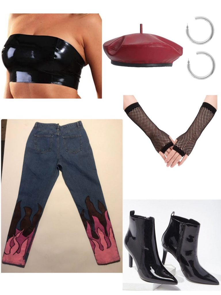 Bratz costume idea inspired by Jade with flame jeans, spike boots, leather beret, tube top, hoops