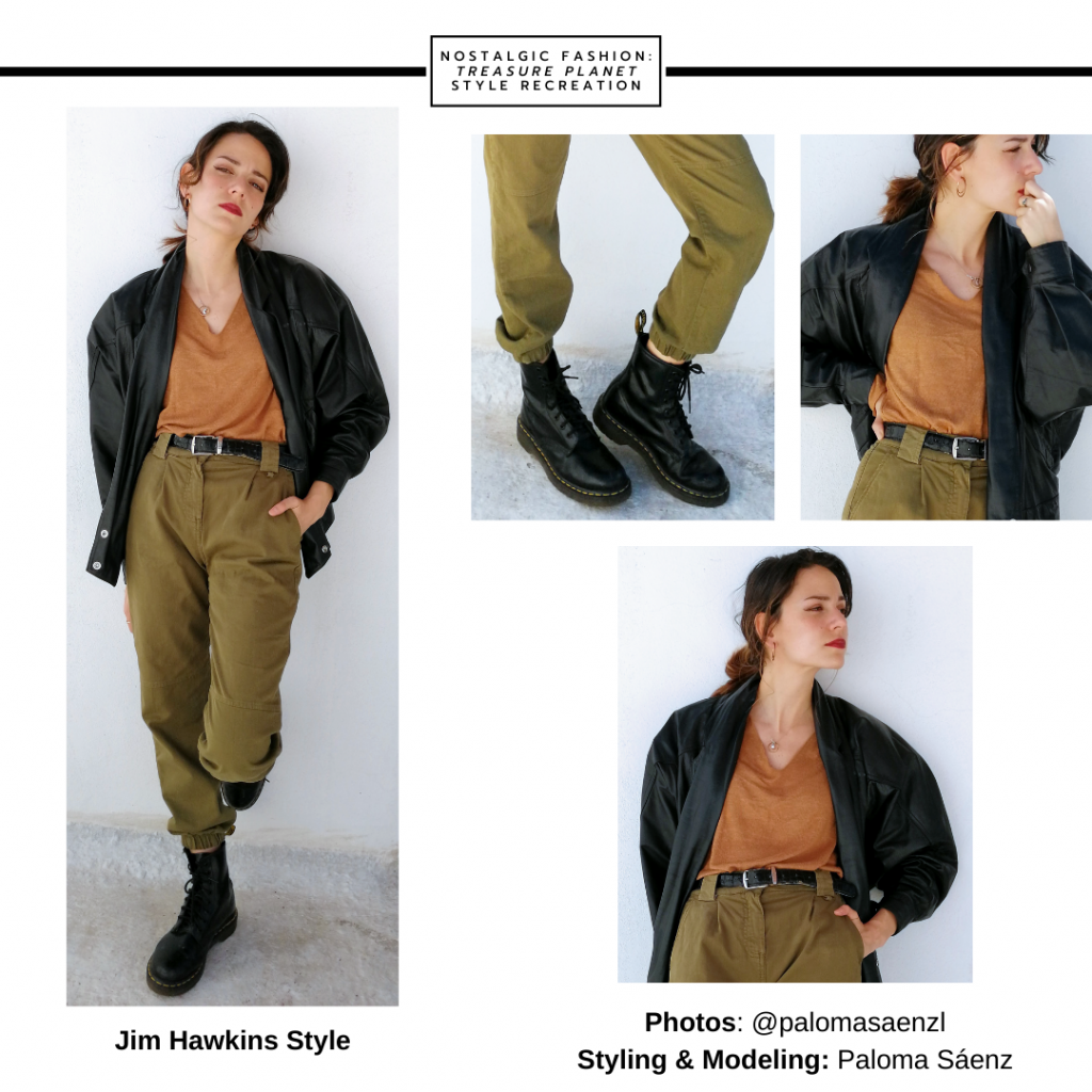 Fashion inspired by Jim Hawkins from Treasure Planet -- outfit with dark green pants, camel v-neck shirt, bomber jacket, combat boots